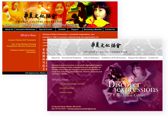 Chinese Culture Connection (CCC) - website design